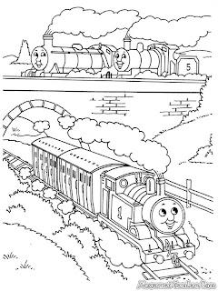 Gambar Kereta Api Thomas Berangkat Dari Stasiun Untuk Diwarnai