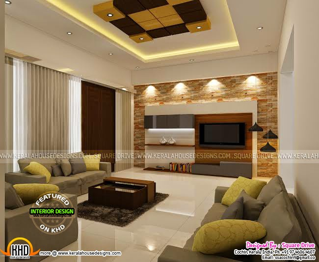Cochin interior design kerala home design and floor plans for Living room interior in kerala