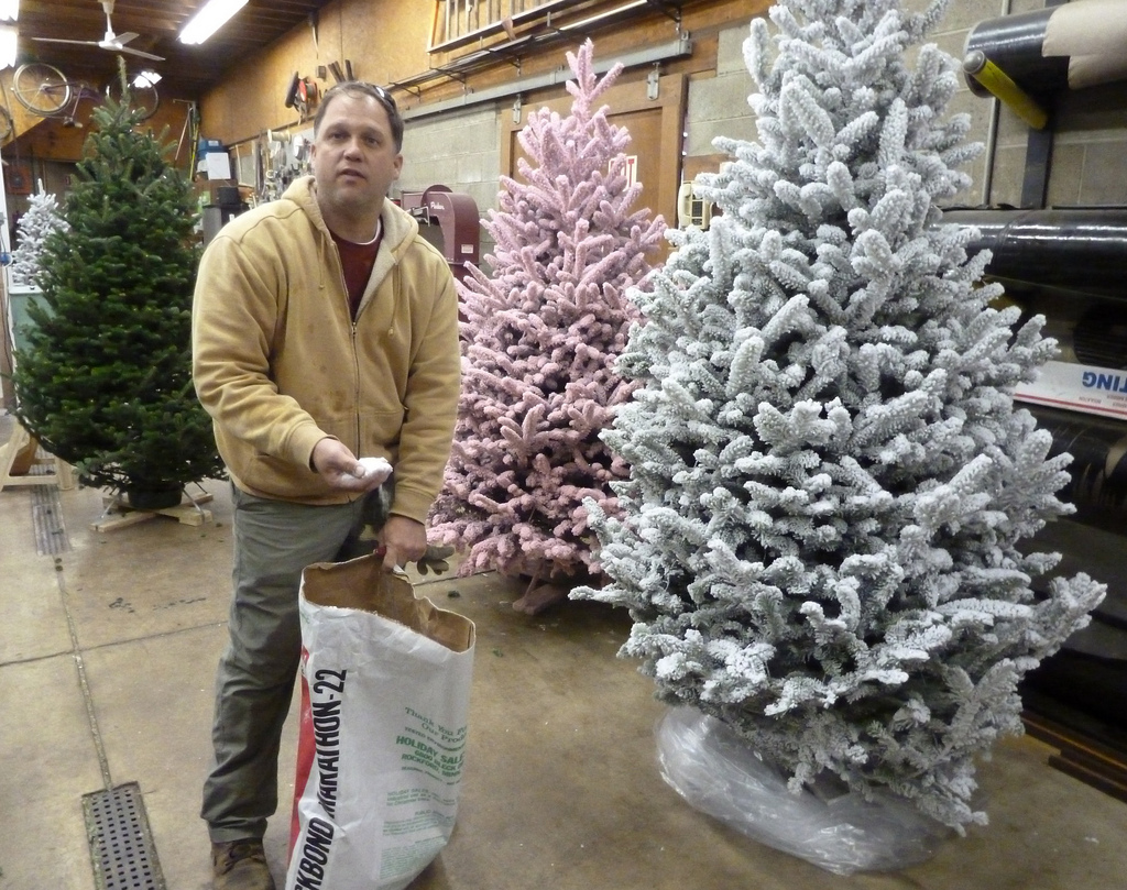 the nearly lost art of flocking christmas trees - Small Flocked Christmas Tree