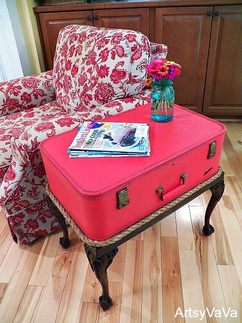 Unique Make a rope trimmed vintage suitcase sidetable by Artsy Va Va featured on I Love That