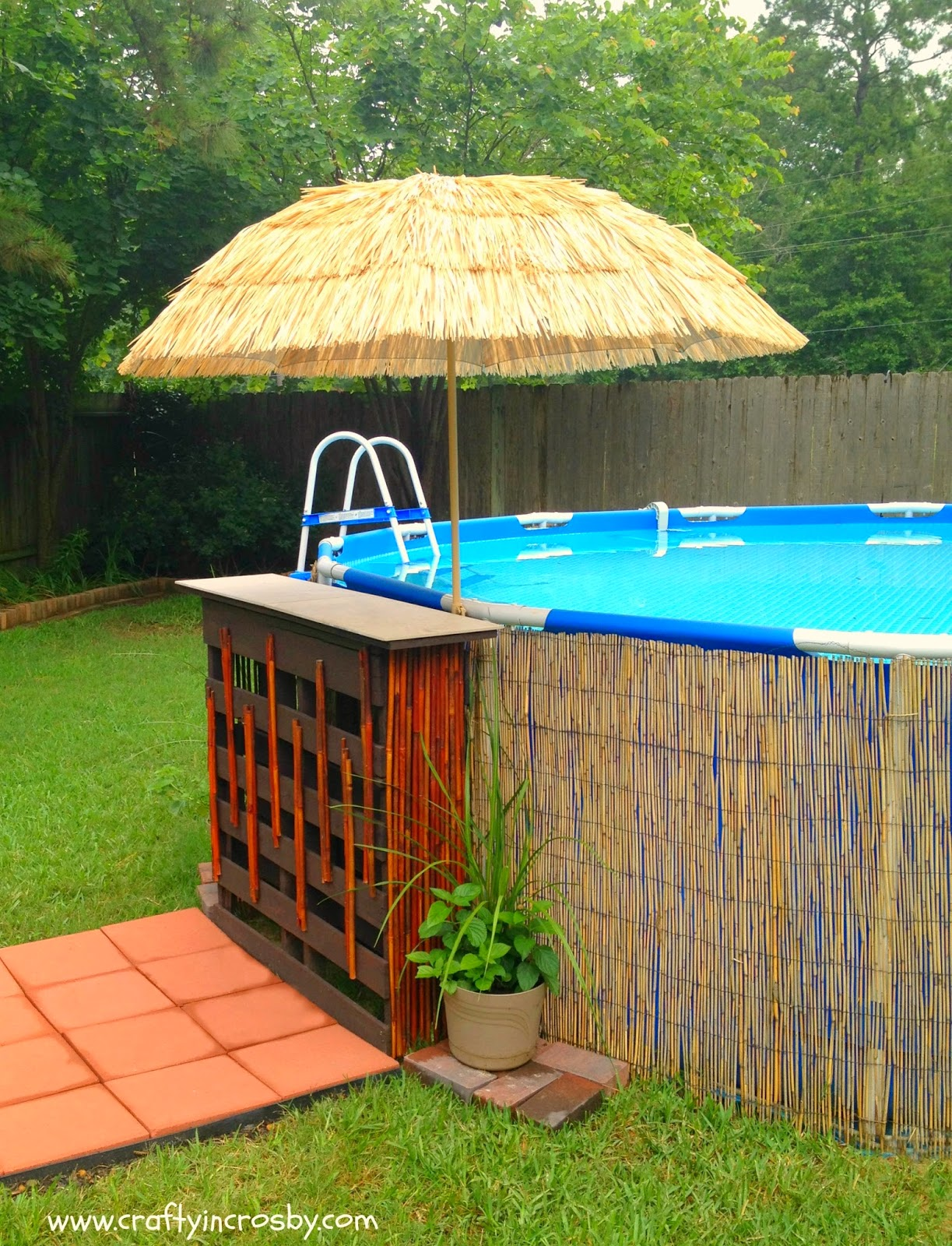 Crafty in crosby tiki bar for the redneck swimming hole for Decor around swimming pool
