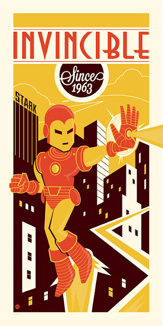 "Dark Ink Art Marvel Screen Prints - ""Invincible Since 1963"" Iron Man Print by Dave Perillo"