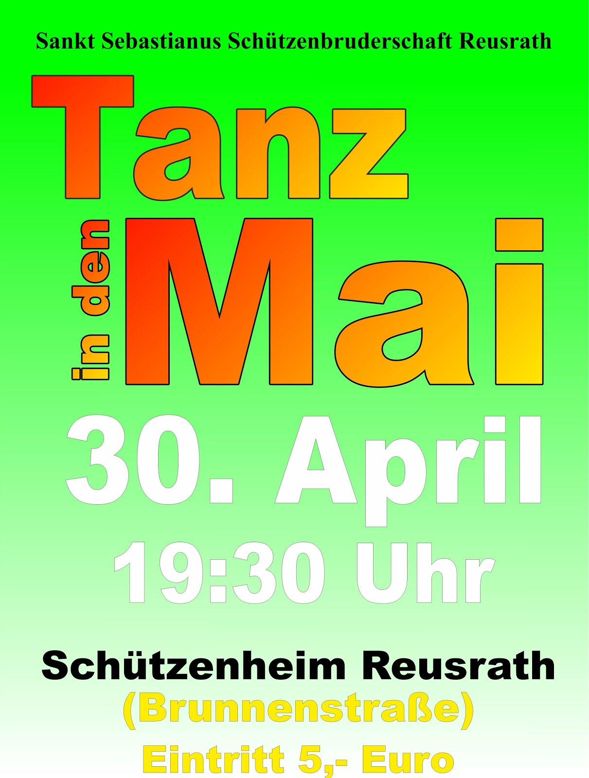 Tanz in den Mai rund ums Reusrather Schützenheim