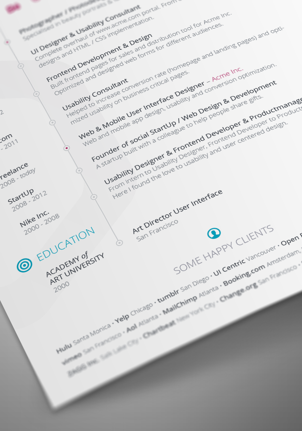 free vita resume   cv template for indesign