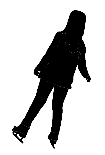 young girl ice skating silhouette