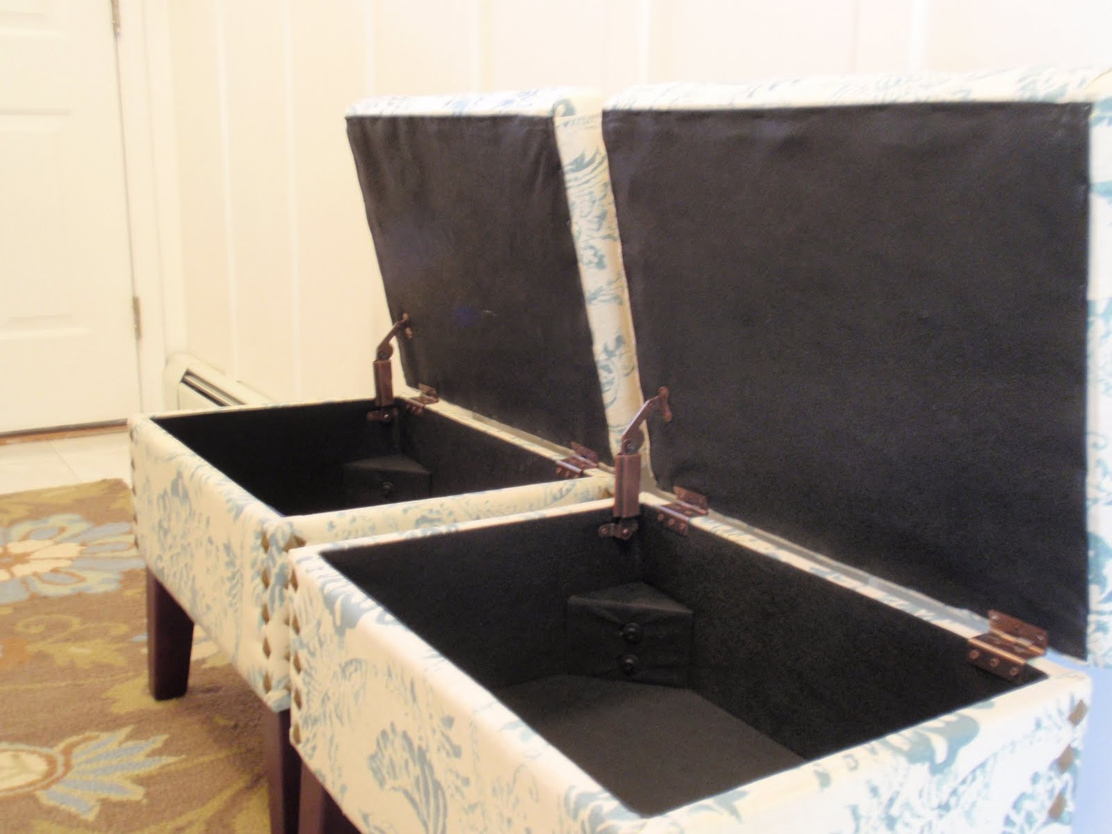 How to build a storage ottoman - 2 Kids Plus All Their Stuff 2 Storage Ottomans The Perfect Mudroom Benches