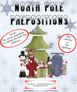 photo of North Pole Prepositions, PDF, Teacher Park, grades 4 - 6 TeachersPayTeachers.com