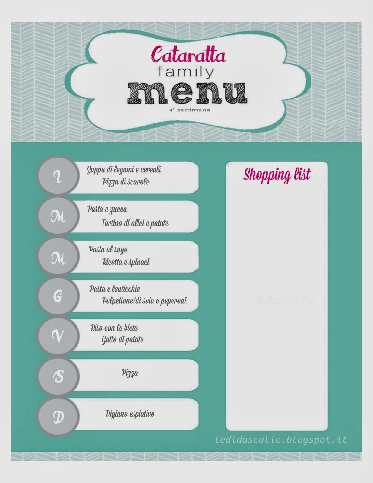 Maison cataratta menu planning 1 for Planning faccende domestiche