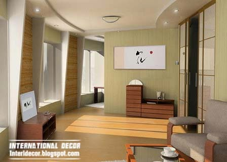Japanese style interior design with false ceiling
