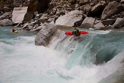Dag Sandvik, on one of the countless fun moves, waterfall, nz, new zealand, upper whitcombe, chris baer,