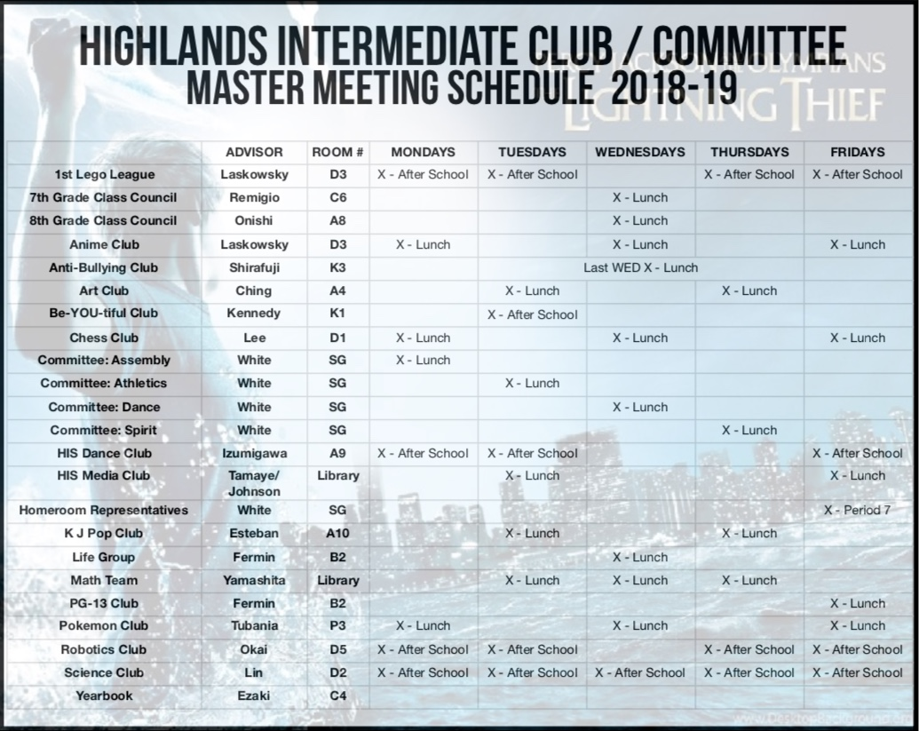 HIS Club & Committee Schedule 18-19