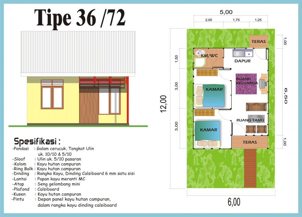 Denah Rumah Minimalis Type 36/72 ~ Gambar Rumah Idaman