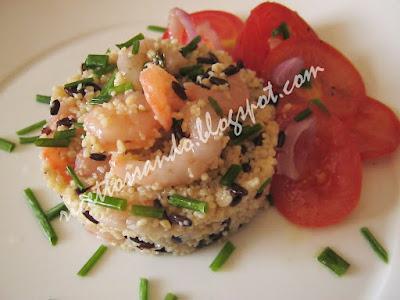 Taboulè di cous cous con riso venere e gamberetti ricetta piatto freddo