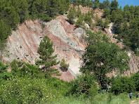 Tall d'estrats de l'anticlinal d'Oló. S'observen les diverses roques i la potència respecte als caminants de la dreta