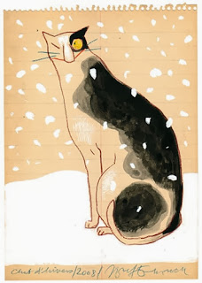 a cat  in the snow illustration by Wolf Erlbruch