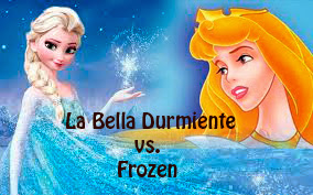 Princesa Elsa en Frozen y princesa Aurora en La Bella Durmiente de la factoría  Disney
