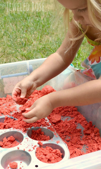 Homemade apple moon sand perfect for Fall sensory play