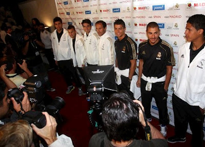 Cristiano Ronaldo, Kaka and some Real Madrid players during the event