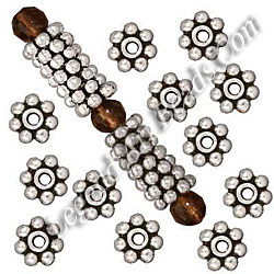 Wholesale Silver Daisy Spacer Beads