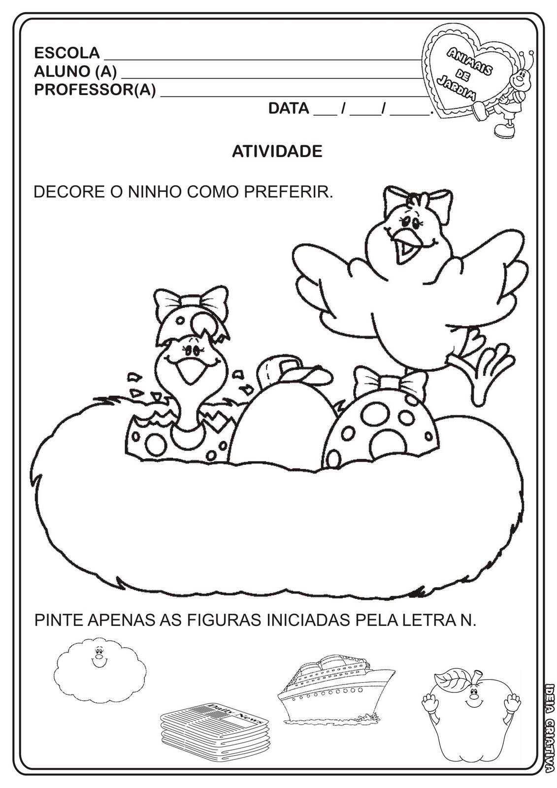 Muitas vezes Atividade Letra N Projeto Animais de Jardim | Ideia Criativa - Gi  MG49