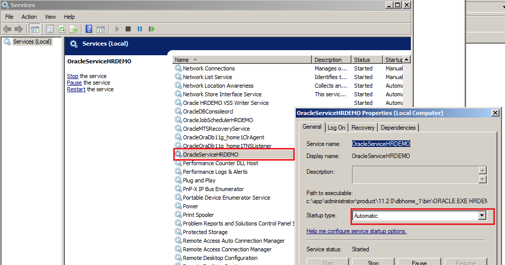 Start the configure the windows service for Oracle Seed Database