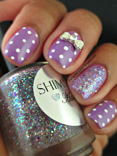Shimmer Polish, Astrid, glitter, glitter bomb, swatch, polka dot, bows, cute, simple, girly, purple, lavendar, lilac, nails, nail art, nail design, mani