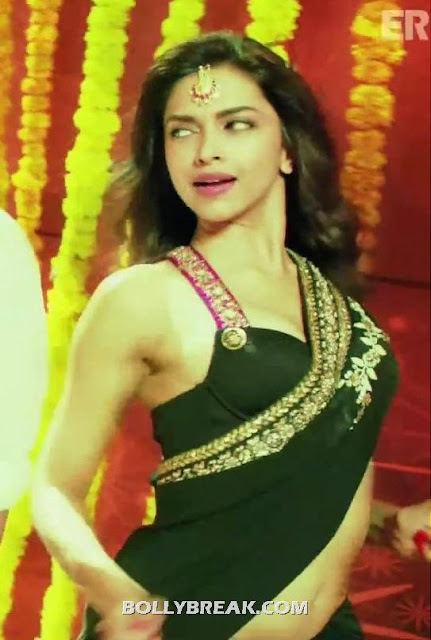 Deepika Padukone Navel in Black Saree - Deepika Padukone Navel Pics - Cocktail Second Hand Jawani song black Saree