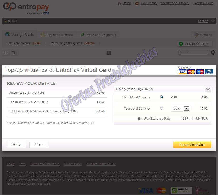 EntroPay tutorial freebiejeebies visa dinheiro