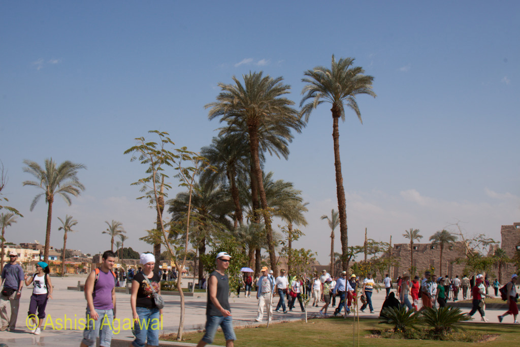 Large numbers of tourists walking towards the Karnak temple
