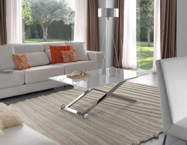 Mesa de centro elevable a mesa de comedor for Mesas plegables de pared