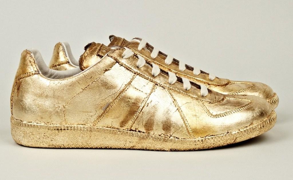 gold rush margiela mens gold foil sneakers news online. Black Bedroom Furniture Sets. Home Design Ideas