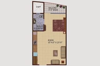 Ceyane Tower :: Floor Plans,Type A:- Studio1 Bedroom, 1 Toilet, Kitchen, Drawing, 1 Balconies Super Area - 595 Sq Ft