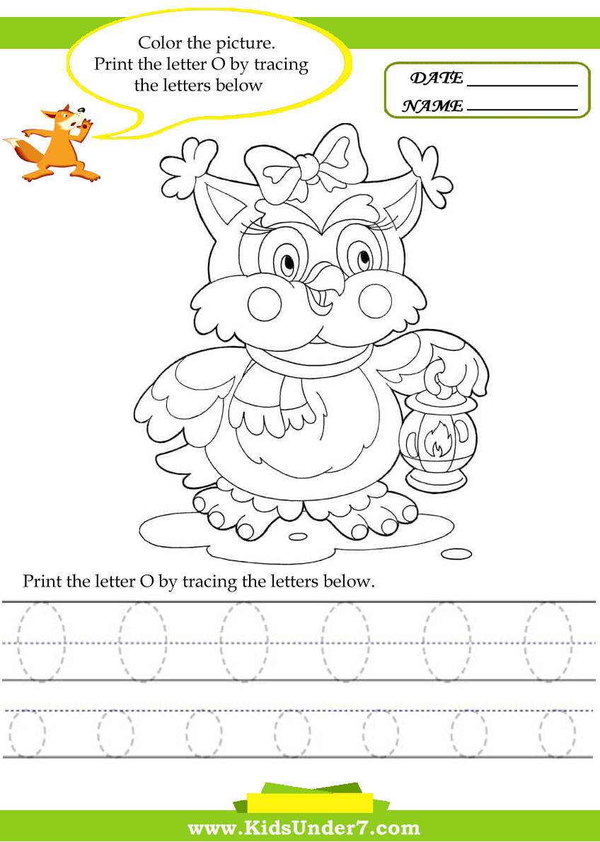 Kids Under 7: Alphabet worksheets.Trace and Print Letter O