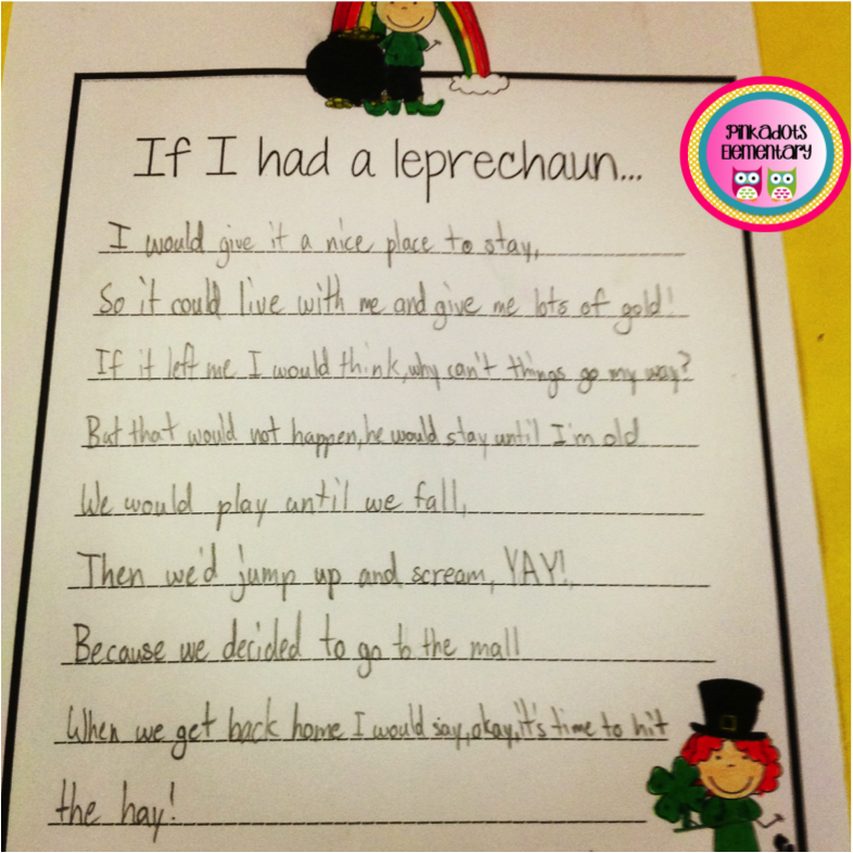 http://www.teacherspayteachers.com/Product/St-Patricks-Day-Bulletin-Board-and-Writing-Activity-If-I-Had-a-Leprechaun--533875