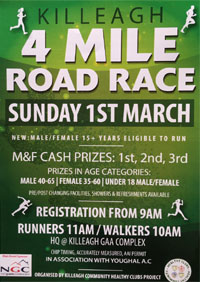 4 mile race in East Cork - Sun 1st Mar 2020