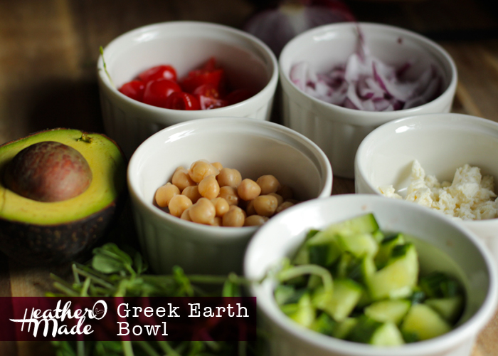 greek earth bowl. farro. breakfast. lunch. dinner. recipe. heatheromade