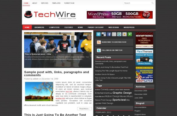 Free Wordpress Black Grey News Theme Template