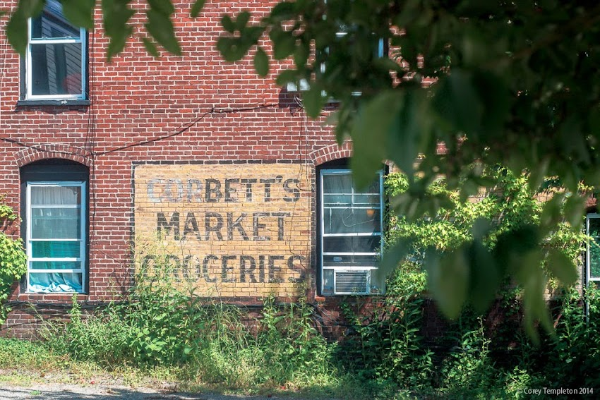 Corbett's Market Groceries old painted sign off of Pleasant Street in Portland, Maine USA August 2014 Summer photo by Corey templeton