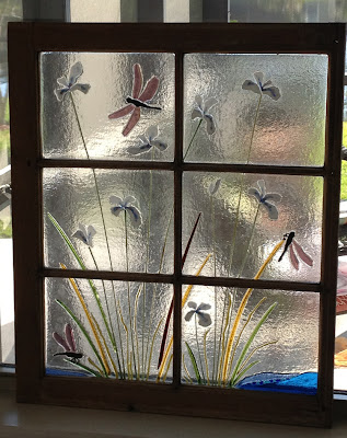 Finished Fused Glass Antique Recycled Window with Iridescent Dragonflies and Irises by flutterbybutterfly