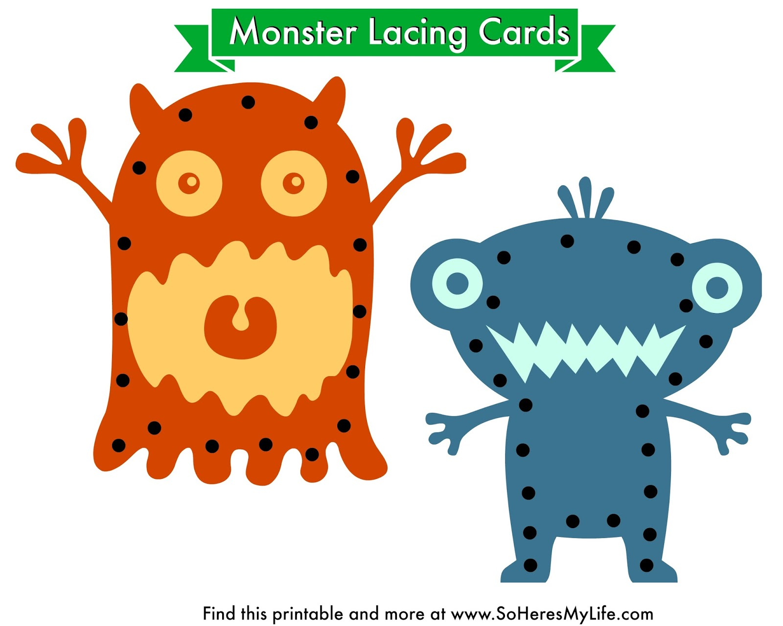 printable monster lacing cards