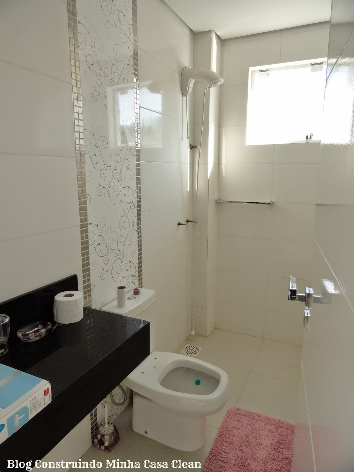 Construindo Minha Casa Clean: Meus Pisos Porcelanato e Laminado! O que  #416B78 1200x1600 Banheiro Branco Com Rejunte Azul