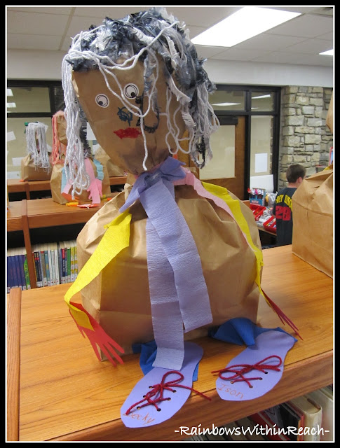 photo of: Self portrait sculptures from paper bags. Preschool project &quot;All About Me&quot; 