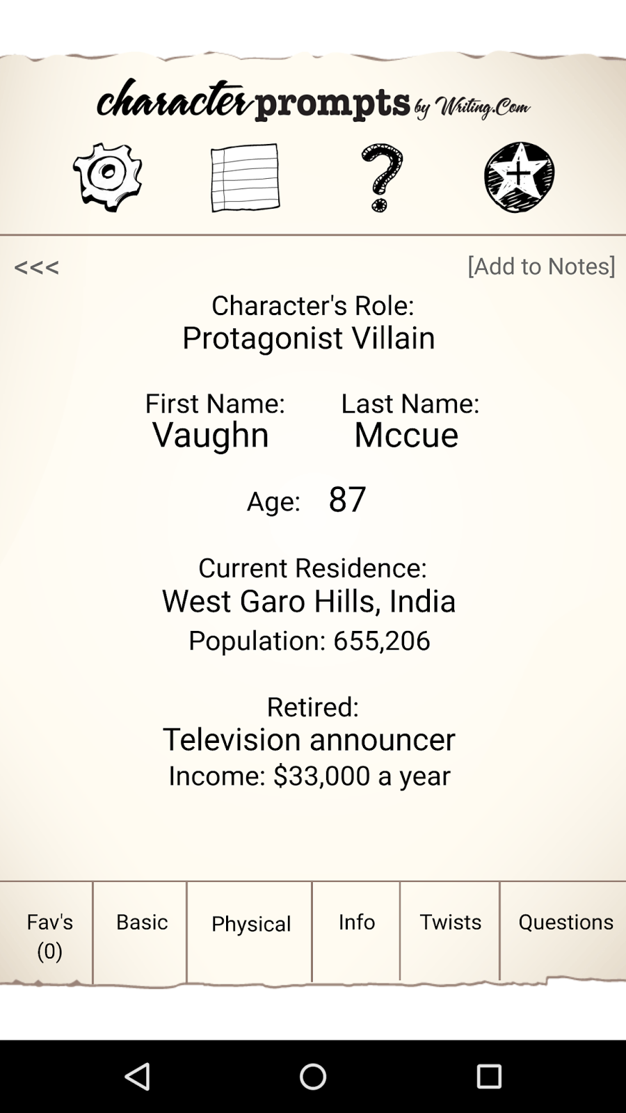 This Screen Displays The Characters Role In Story First Name Last Age Residence And Career Income Information