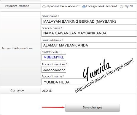 Cara isi SWIFT Code Maybank bayaran Geniee SSP, nombor kod SWIFT bank, semak nombor SWIFT CODE di cawangan bank, jumlah earning cashout Geniee SSP