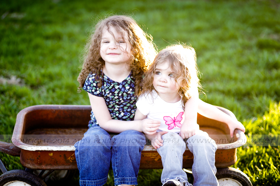 backlit photo of two sisters sitting in a wagon - Terre Haute photographer