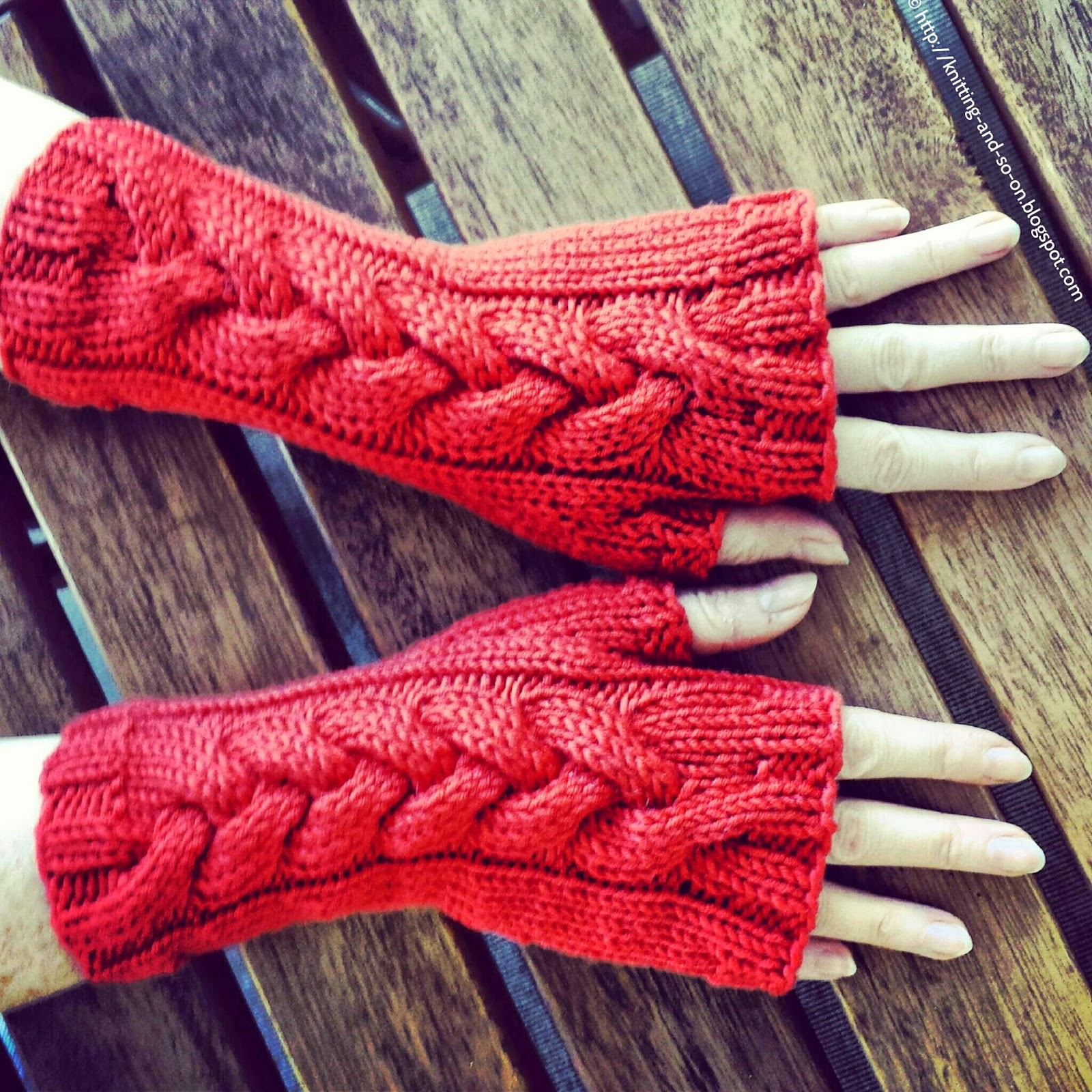 Free Knitted Glove Pattern : Knitting and so on: Helga Cabled Mitts