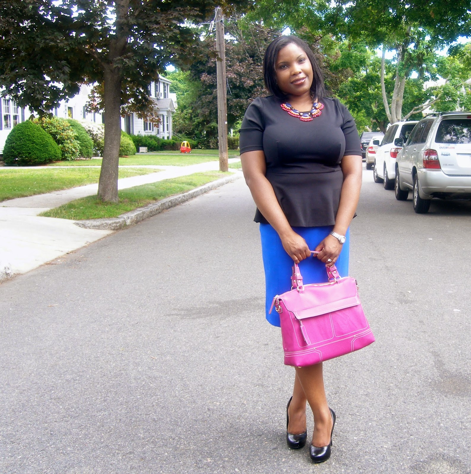 black peplum top, cobalt pencil skirt