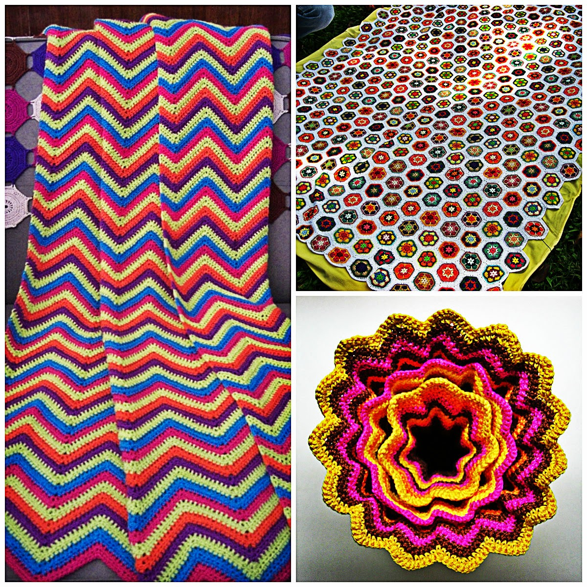 More on the bedspread I made (top right) in my blog entry here .