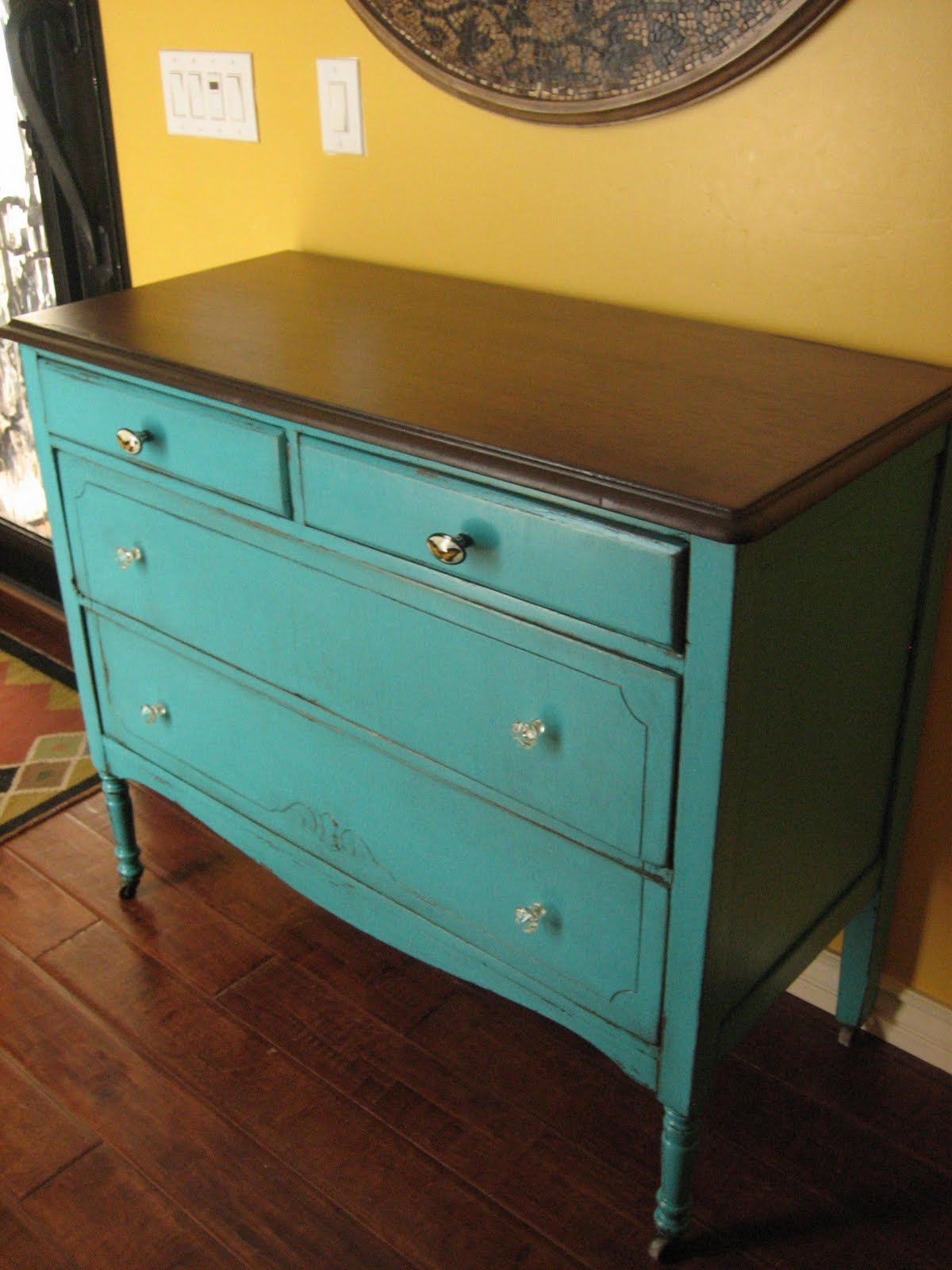European Paint Finishes Teal Dresser