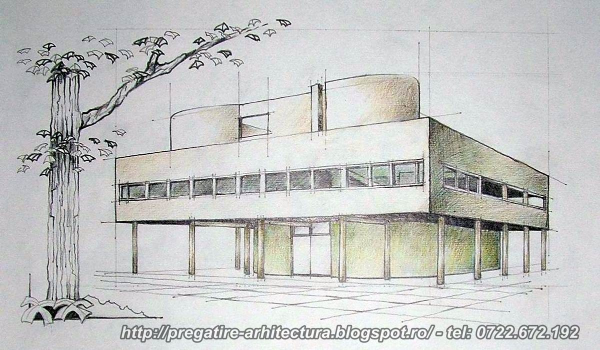 pregatire arhitectura desene cu vila savoye villa savoye drawings le corbusier. Black Bedroom Furniture Sets. Home Design Ideas